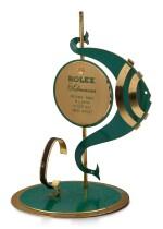 ROLEX   SUBMARINER A GILT BRASS AND GREEN ENAMEL RETAILER'S WINDOW DISPLAY, CIRCA 1960