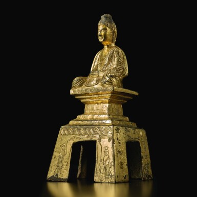 View 6. Thumbnail of Lot 588. A GILT-BRONZE FIGURE OF A SEATED BUDDHA,  NORTHERN WEI DYNASTY, DATED TAIHE SECOND YEAR, CORRESPONDING TO 478.