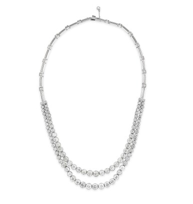View 3. Thumbnail of Lot 48. Collier diamants | Diamond necklace.