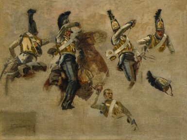 View 1. Thumbnail of Lot 34. FRANÇOIS SCHOMMER | STUDIES OF A RUSSIAN SOLDIER IN COMBAT DURING THE NAPOLEONIC WAR .