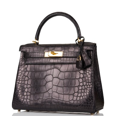 View 5. Thumbnail of Lot 44. Hermès Black Retourne Kelly 28cm of Matte Alligator with Gold Hardware.