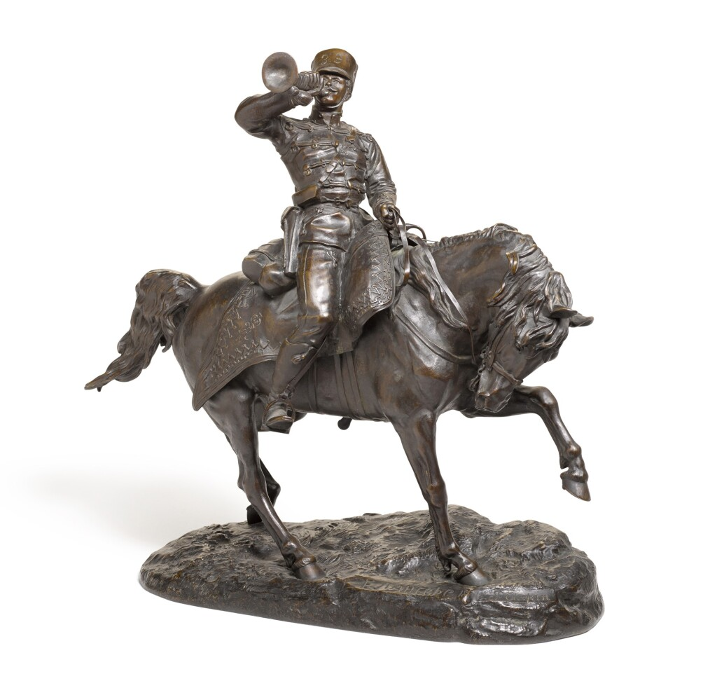 HUSSAR BUGLER: A BRONZE FIGURE, CAST BY CHOPIN AFTER THE MODEL BY EVGENY LANCERAY (1848-1886)