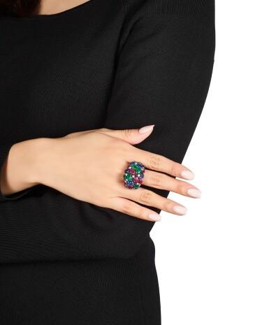 View 3. Thumbnail of Lot 1658. Cartier | 'Tutti Frutti' Gem Set and Diamond Ring | 卡地亞 | 「水果錦囊」 寶石 配 鑽石 戒指.
