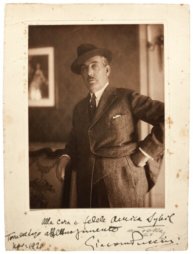 G. Puccini. Large photograph signed and inscribed to Sybil Seligman, 1920