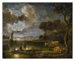 FOLLOWER OF AERT VAN DER NEER | MOONLIT RIVER LANDSCAPE WITH BOATS, FISHERMAN AND COWS
