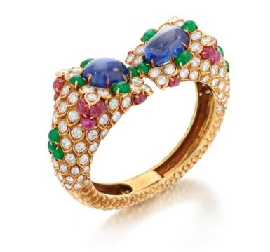 View 3. Thumbnail of Lot 77. Sapphire, emerald, ruby and diamond bracelet (Bracciale con zaffiri, smeraldi, rubini e diamanti).