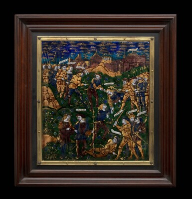 The Master of the Aeneid, French, Limoges, circa 1525-1530 | Plaque with Cassandra being put to Death