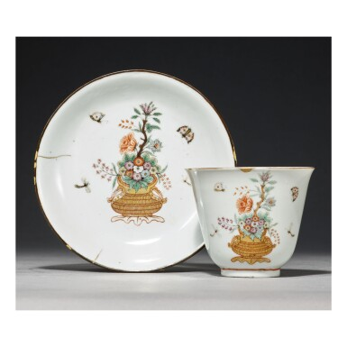 A RARE CHINESE DUTCH-DECORATED BEAKER AND SAUCER THE PORCELAIN QING DYNASTY, KANGXI PERIOD, THE DECORATION BEFORE 1721 | 清康熙 白釉荷蘭後加彩花蝶圖仰鐘式盃連盞