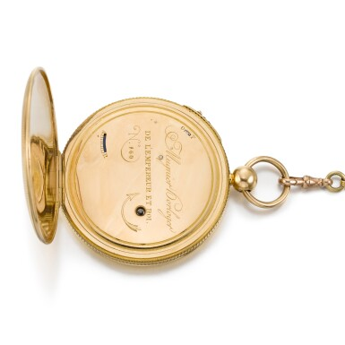 View 3. Thumbnail of Lot 221. CHARLES MUGNIER | A GOLD OPEN-FACED QUARTER REPEATING WATCH  CIRCA 1820, NO. 860.