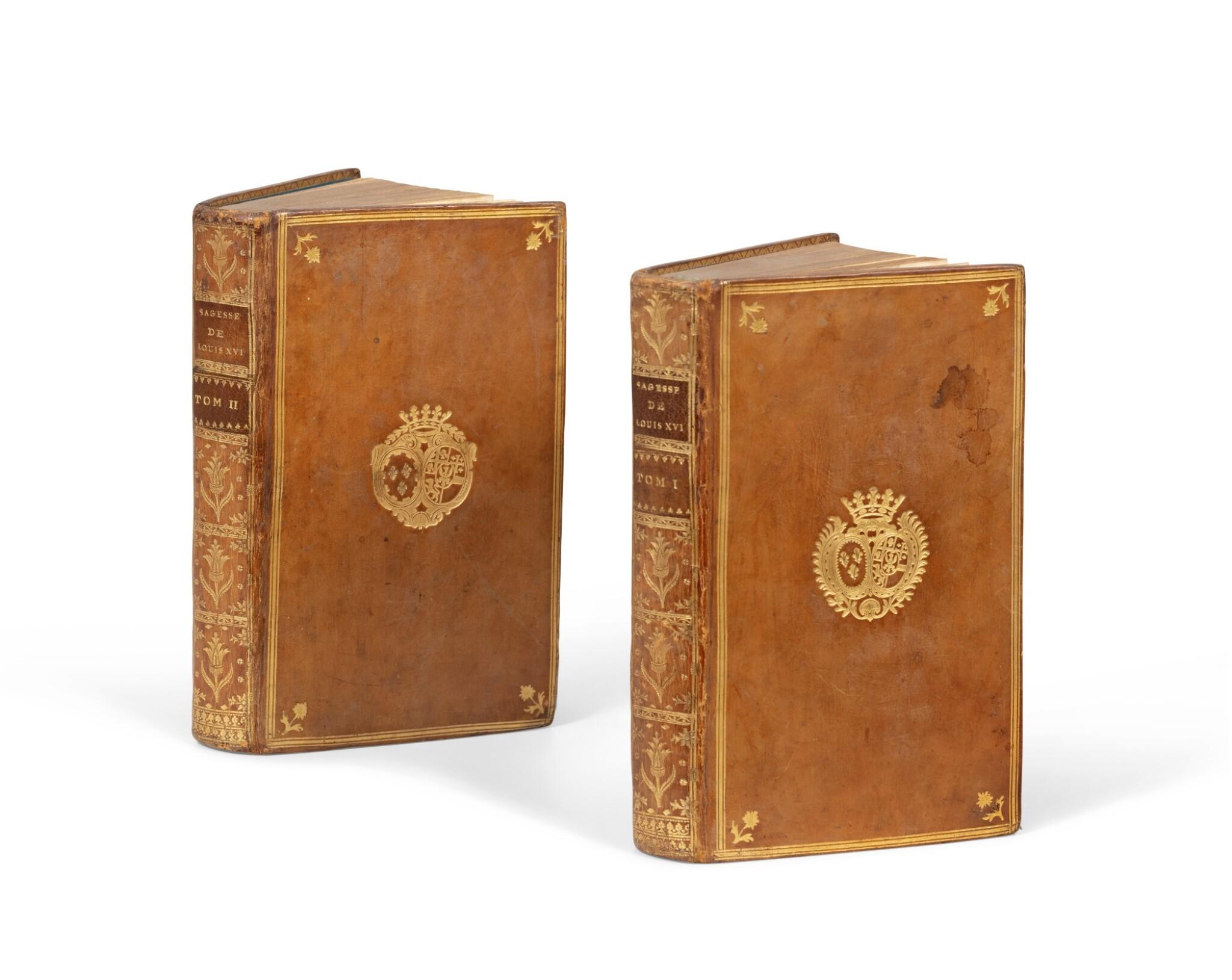 View full screen - View 1 of Lot 85. Sagesse de Louis XVI. 1775. 2 vol. Rel. aux armes des comtesses de Provence et d'Artois..