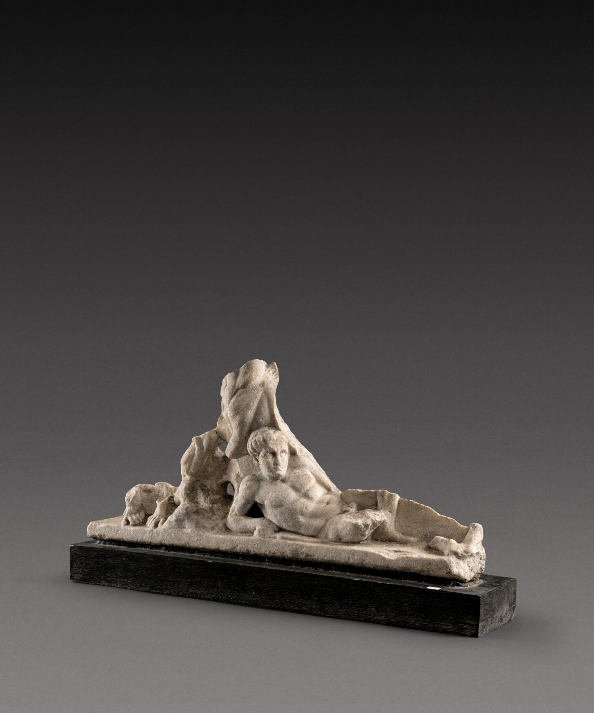 View 1 of Lot 89. A Roman Marble Centauromachy Sarcophagus Fragment, circa mid 2nd Century A.D..