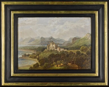 View 2. Thumbnail of Lot 175. An English porcelain rectangular plaque depicting Dunrobin Castle, painted by H.L. Pratt, dated 1842.