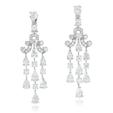 View 1. Thumbnail of Lot 94. Graff   Pair of diamond earrings.