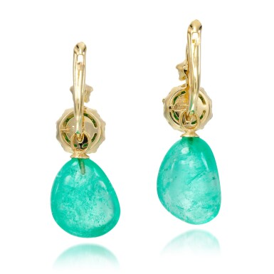View 3. Thumbnail of Lot 19. Pair of emerald and diamond earrings.