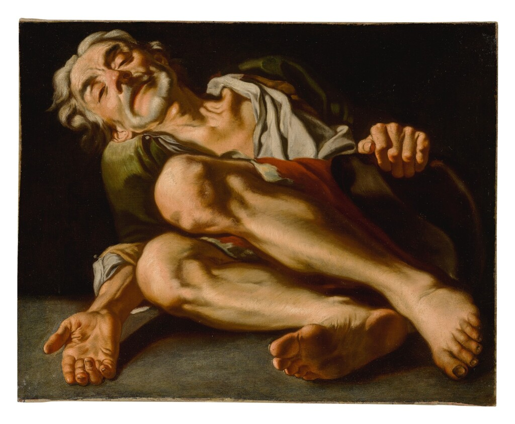 GASPARE TRAVERSI   AN OLD BEGGAR, LYING DOWN, HIS HAND REACHING OUT