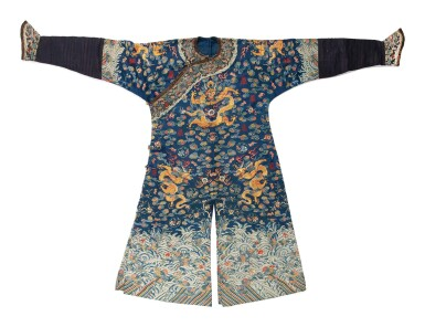 View 1. Thumbnail of Lot 1055. A BLUE-GROUND SUMMER GAUZE 'DRAGON' ROBE, QING DYNASTY, EARLY 19TH CENTURY.