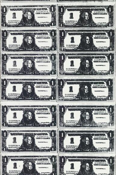 View 2. Thumbnail of Lot 121. Front and Back Dollar Bills | 《美元的正反面(兩部分)》.