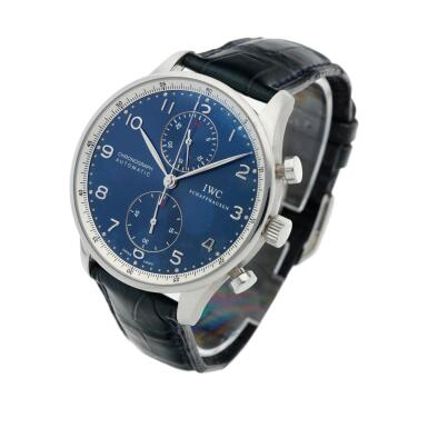 View 3. Thumbnail of Lot 130. Reference IW3714-32 Portugieser Chronograph  A limited edition stainless steel automatic chronograph wristwatch, Circa 2006 .