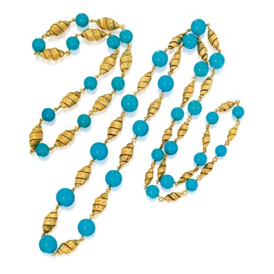 TWO GOLD AND TURQUOISE NECKLACES, VAN CLEEF & ARPELS, FRANCE | 雙色黃金鑲綠松石項鏈兩條,梵克雅寶