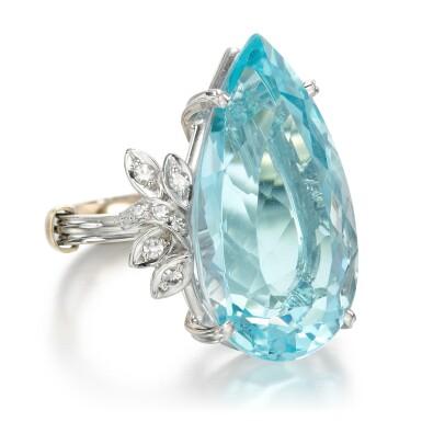 View 2. Thumbnail of Lot 56. Aquamarine and diamond ring.