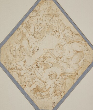 View 3. Thumbnail of Lot 522. ITALIAN SCHOOL, 17TH CENTURY   Design for an inkstand.