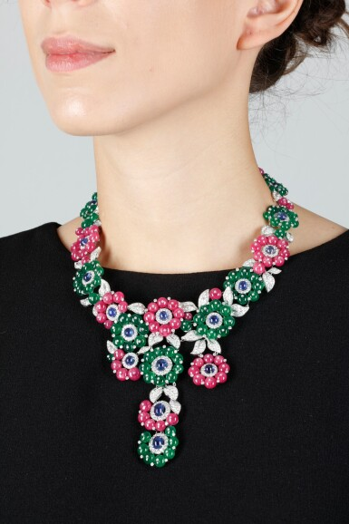 View 4. Thumbnail of Lot 91.  MICHELE DELLA VALLE | GEM SET AND DIAMOND NECKLACE.