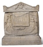 A ROMAN MARBLE CINERARY URN AND COVER, 1ST/2ND CENTURY A.D., WITH 18TH CENTURY MARBLE BASE AND LID