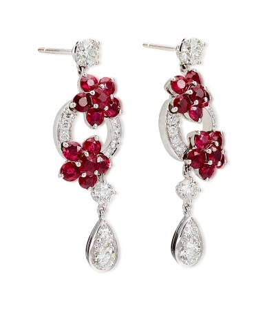 View 2. Thumbnail of Lot 1001. 'Rosette' Pair of Ruby and Diamond Pendent Earrings | 格拉夫 | 'Rosette' 紅寶石 配 鑽石 耳墜一對 (紅寶石及鑽石共重約5.10及2.20克拉).