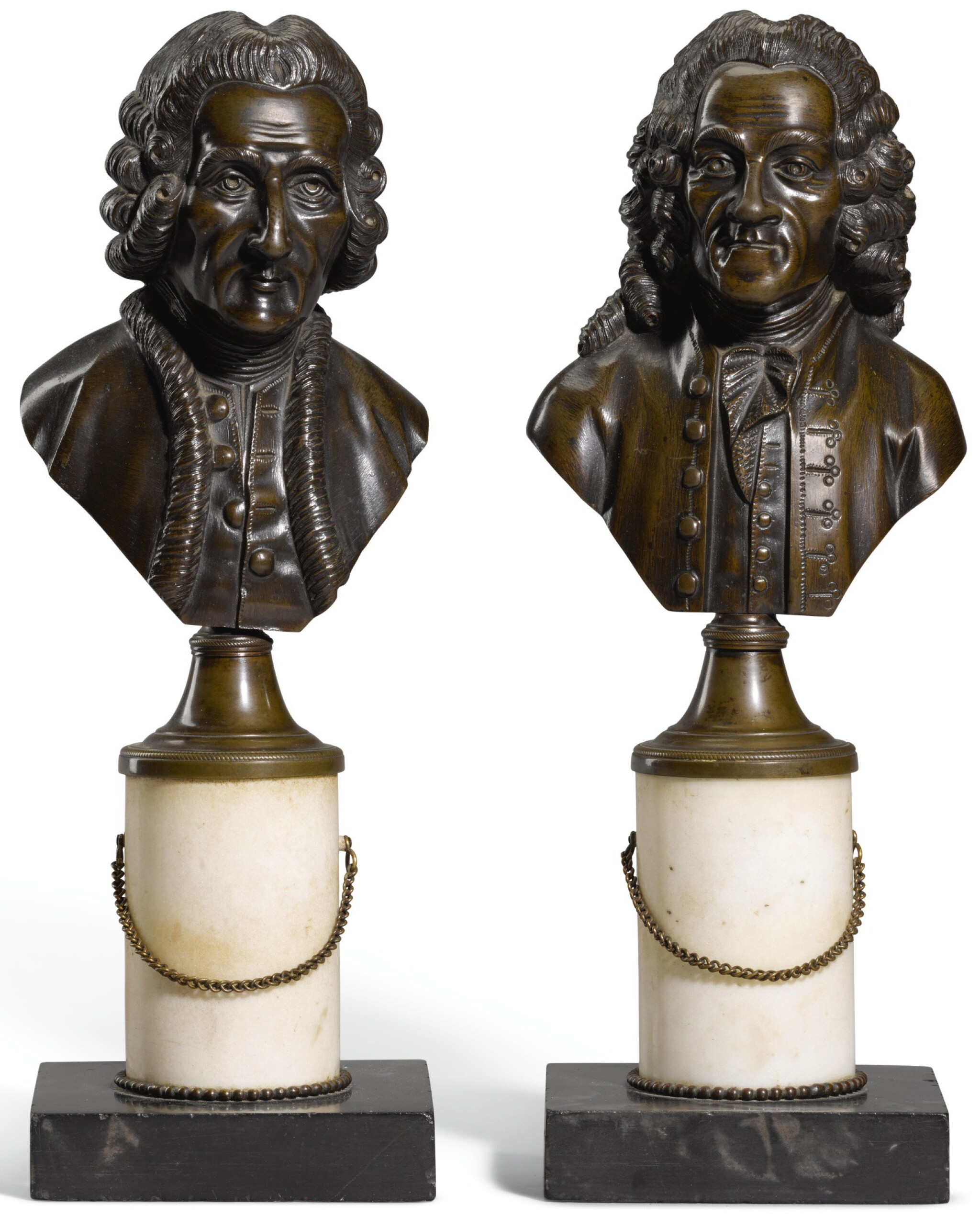 View full screen - View 1 of Lot 98. French, 19th century, Busts of Voltaire and Rousseau.