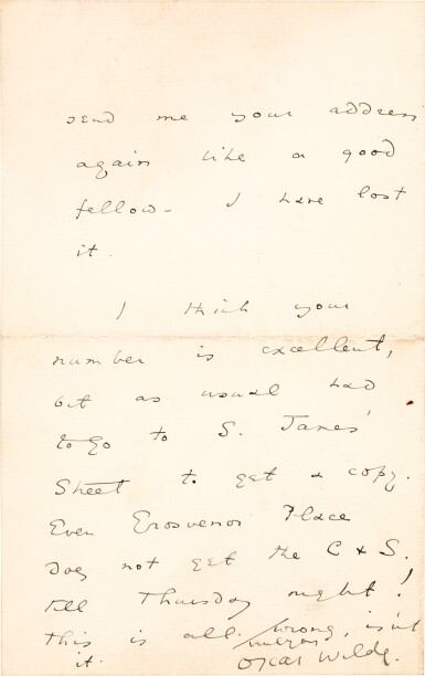 View 2. Thumbnail of Lot 126. Oscar Wilde | Five autograph letters signed, to Alsager Vian, 1887.