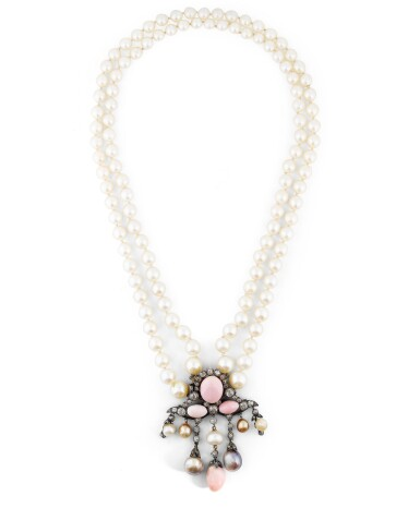 View 1. Thumbnail of Lot 11. COLLIER PERLES FINES, PERLES DE CULTURE ET DIAMANTS | NATURAL PEARL, CULTURED PEARL AND DIAMOND NECKLACE.