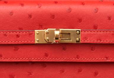 View 7. Thumbnail of Lot 307. Bougainvillier Sellier Kelly 25cm in Ostrich Leather with Gold Hardware, 2018.