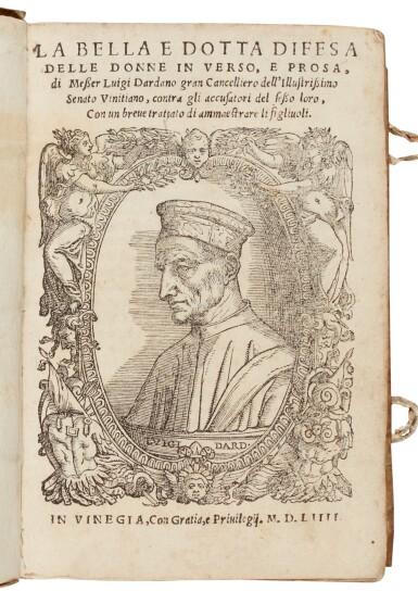 View 1. Thumbnail of Lot 102. Dardano, La bella e dotta difesa delle donne, Venice, 1554, contemporary limp vellum.
