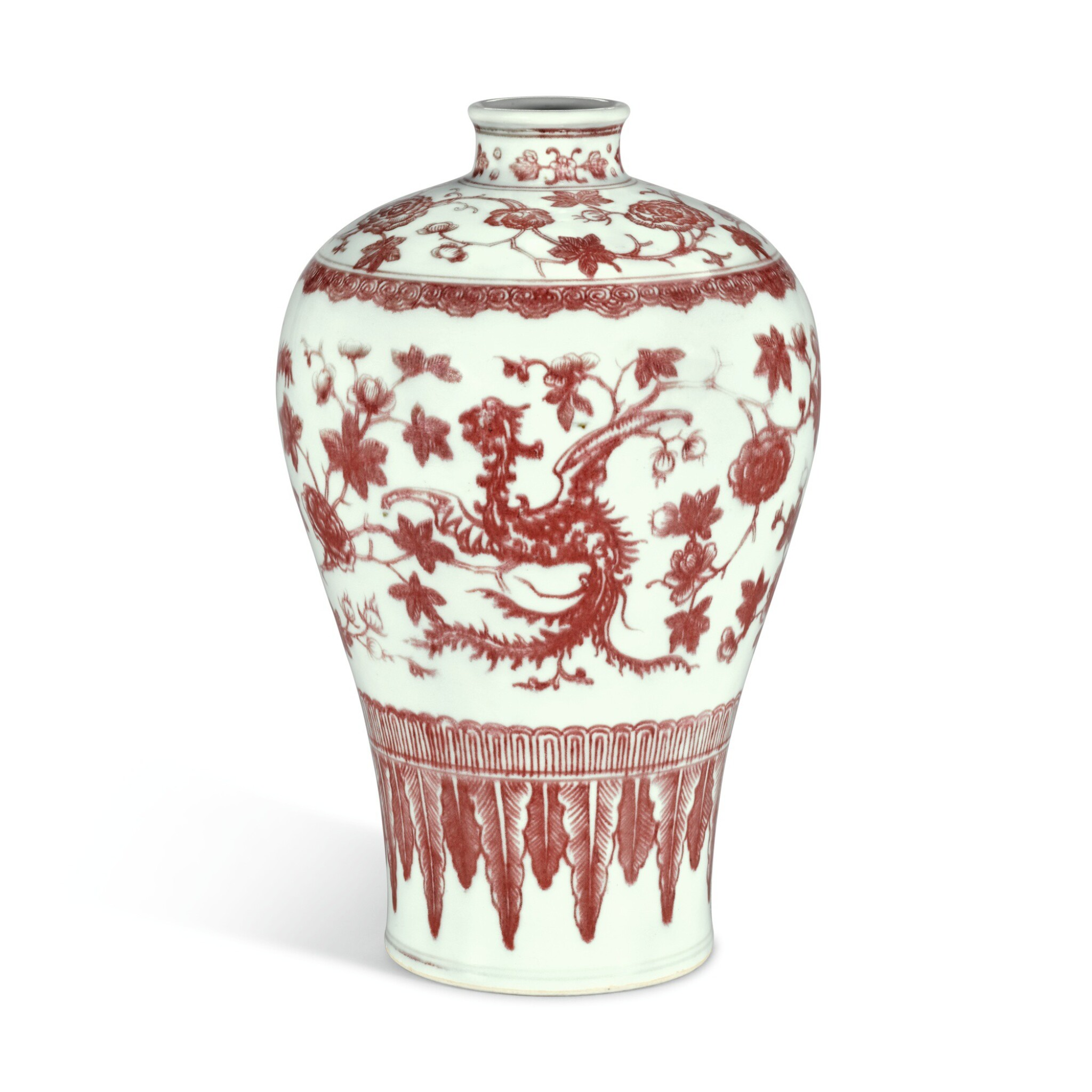 View 1 of Lot 181. AN UNDERGLAZE-RED 'PHOENIX' MEIPING, QING DYNASTY, 18TH CENTURY   清十八世紀 釉裏紅穿花夔鳳紋梅瓶.