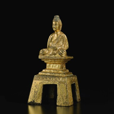 View 4. Thumbnail of Lot 588. A GILT-BRONZE FIGURE OF A SEATED BUDDHA,  NORTHERN WEI DYNASTY, DATED TAIHE SECOND YEAR, CORRESPONDING TO 478.