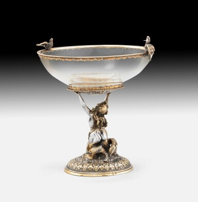 View 4. Thumbnail of Lot 264. A crystal oval bowl with parcel-gilt silver mounts, probably Hanau circa 1880 | Coupe sur pied en cristal, montée en argent et vermeil, probablement Hanau vers 1880.