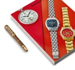 MONTBLANC | A LIMITED EDITION YELLOW GOLD, RUBY-SET AND RESIN FOUTAIN PEN, CIRCA 1997