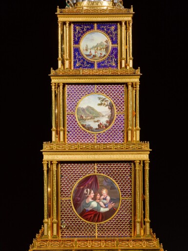 View 8. Thumbnail of Lot 16. John Mottram. A George III gilt-brass and enamel musical automaton clock for the Chinese market, London, circa 1790.