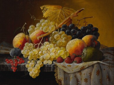 View 3. Thumbnail of Lot 8. SEVERIN ROESEN   STILL LIFE OF FRUIT WITH COMPOTE OF STRAWBERRIES AND STILL LIFE WITH FRUIT AND EMBROIDERED CLOTH: A PAIR OF WORKS.
