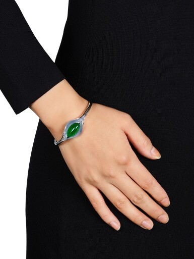View 2. Thumbnail of Lot 1645. Forms | Jadeite and Diamond Cuff Bangle | FORMS | 天然翡翠 配 鑽石 手鐲.