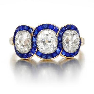View 1. Thumbnail of Lot 43. Sapphire and diamond ring, circa 1915.