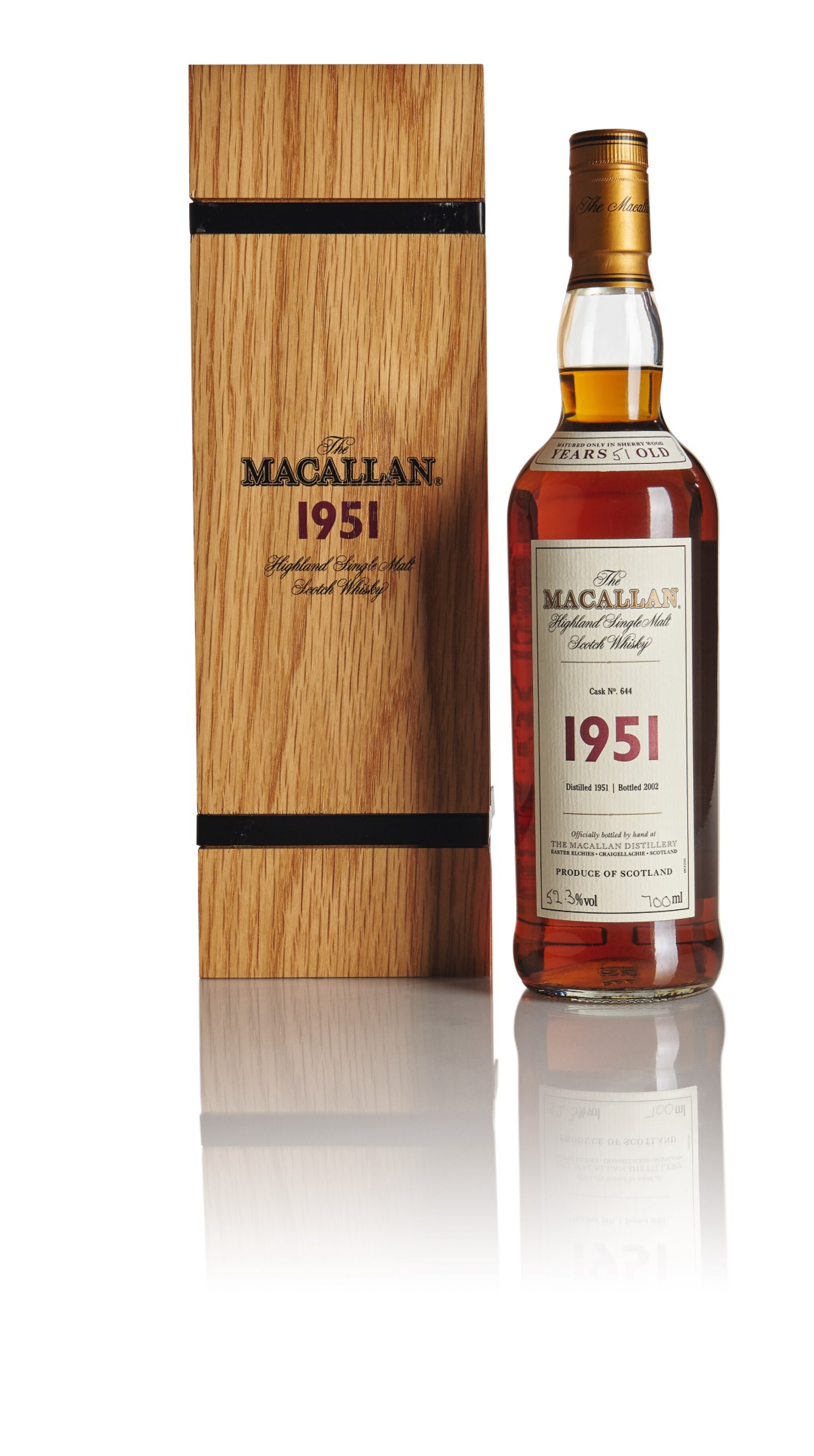 View full screen - View 1 of Lot 124. THE MACALLAN FINE & RARE 51 YEAR OLD 52.3 ABV 1951.