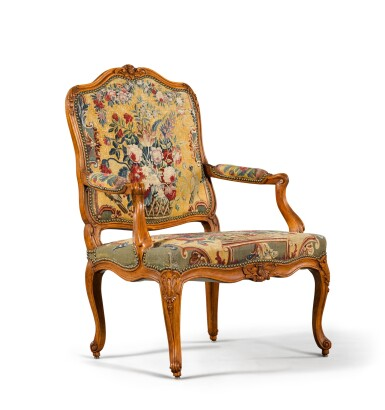 View 2. Thumbnail of Lot 78. A Louis XV suite of carved beechwood seat furniture by Michel Cresson, mid-18th century.