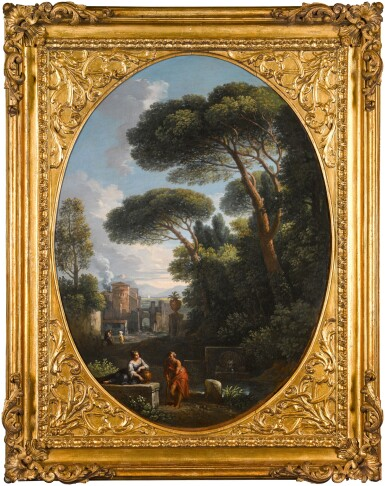 View 3. Thumbnail of Lot 64. JAN FRANS VAN BLOEMEN, CALLED ORIZZONTE  |  A PAIR OF CAPRICCI DEPICTING COUNTRY SCENES WITH FIGURES.