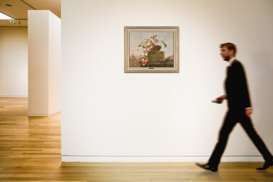 View 4. Thumbnail of Lot 11. EMMANUEL FRIES | ROSES ON A CLASSICAL LEDGE.