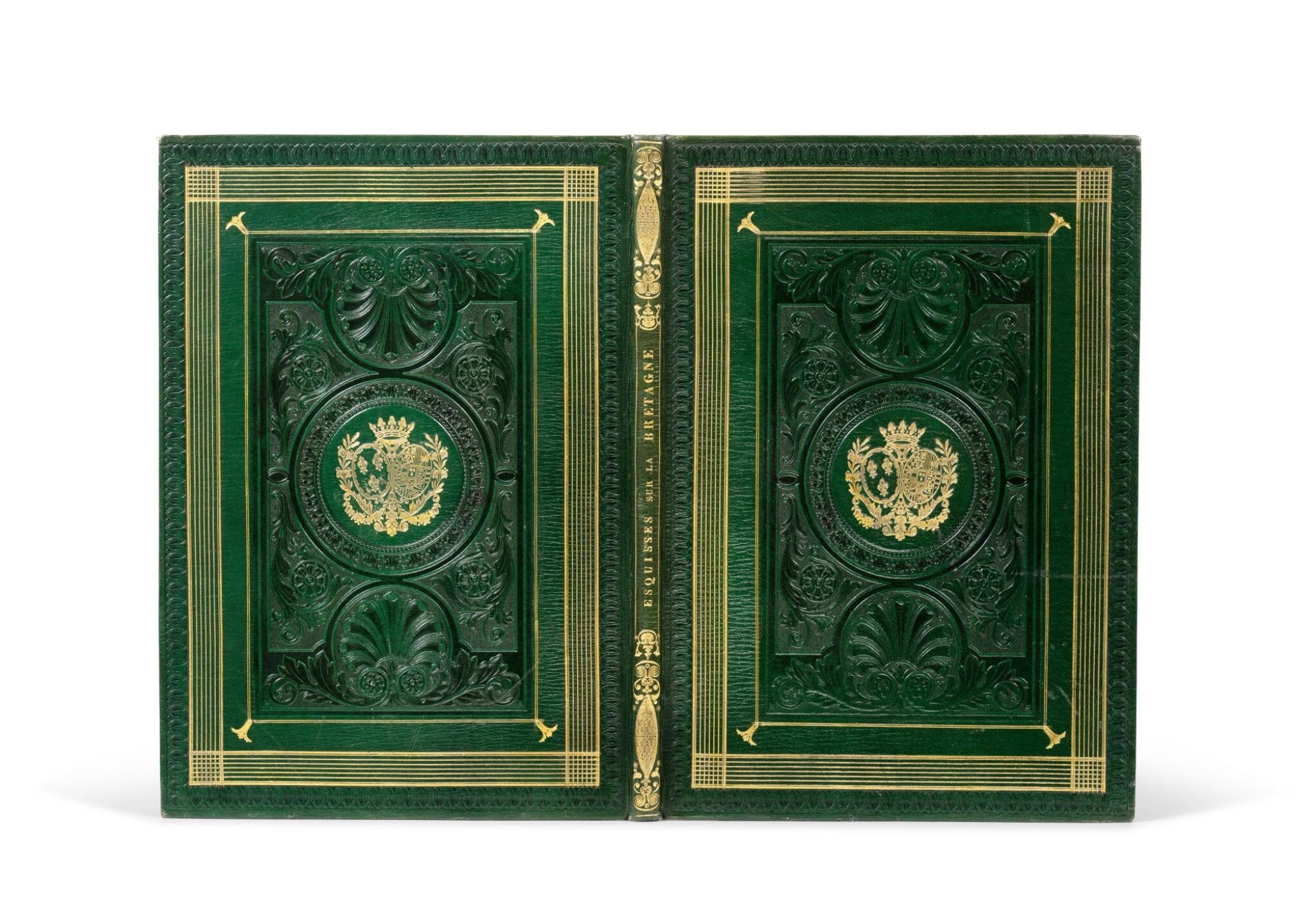 View full screen - View 1 of Lot 109. [Esquisses sur la Bretagne]. Album de 12 lithographies. Armes de la duchesse de Berry..