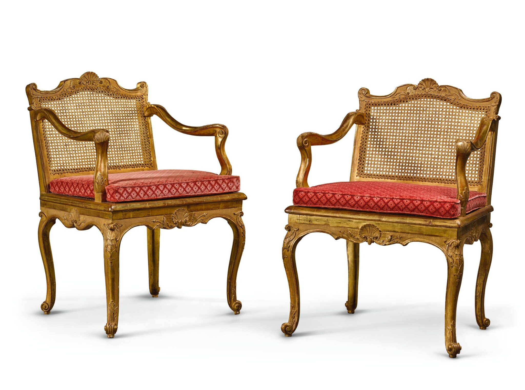View full screen - View 1 of Lot 4. A PAIR OF LOUIS XV CANED CARVED GILTWOOD MUSIC CHAIRS CIRCA 1750.