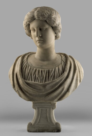 SIMONE BIANCO (BEFORE 1512 - AFTER 1553) VENICE, THE HEAD FIRST HALF OF THE 16TH CENTURY, THE SHOULDERS 17TH/18TH CENTURY | AN IDEALIZED WOMAN ALL'ANTICA