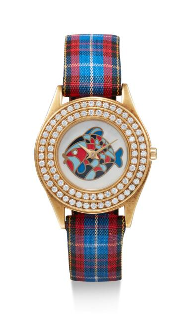 View 1. Thumbnail of Lot 8079. MAUBOUSSIN  | A YELLOW GOLD AND DIAMOND-SET WRISTWATCH WITH MOTHER-OF-PEARL DIAL, CIRCA 1998.