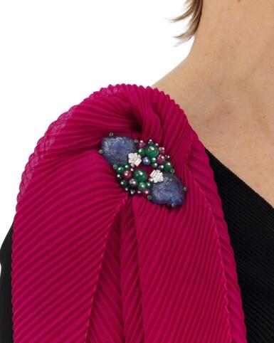 View 5. Thumbnail of Lot 22. Sapphire, emerald, ruby and diamond Tutti Frutti brooch/pendant (Spilla/pendente con zaffiri, smeraldi, rubini e diamanti, Tutti Frutti).